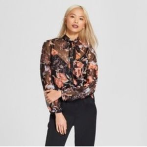 Who What Wear Sheer Floral Blouse